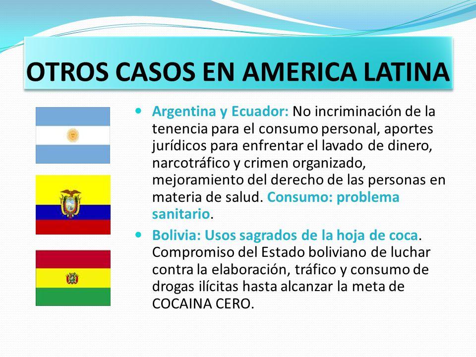 OTROS CASOS EN AMERICA LATINA Argentina y Ecuador: No incriminación de la tenencia para el consumo personal, aportes jurídicos para enfrentar el lavad