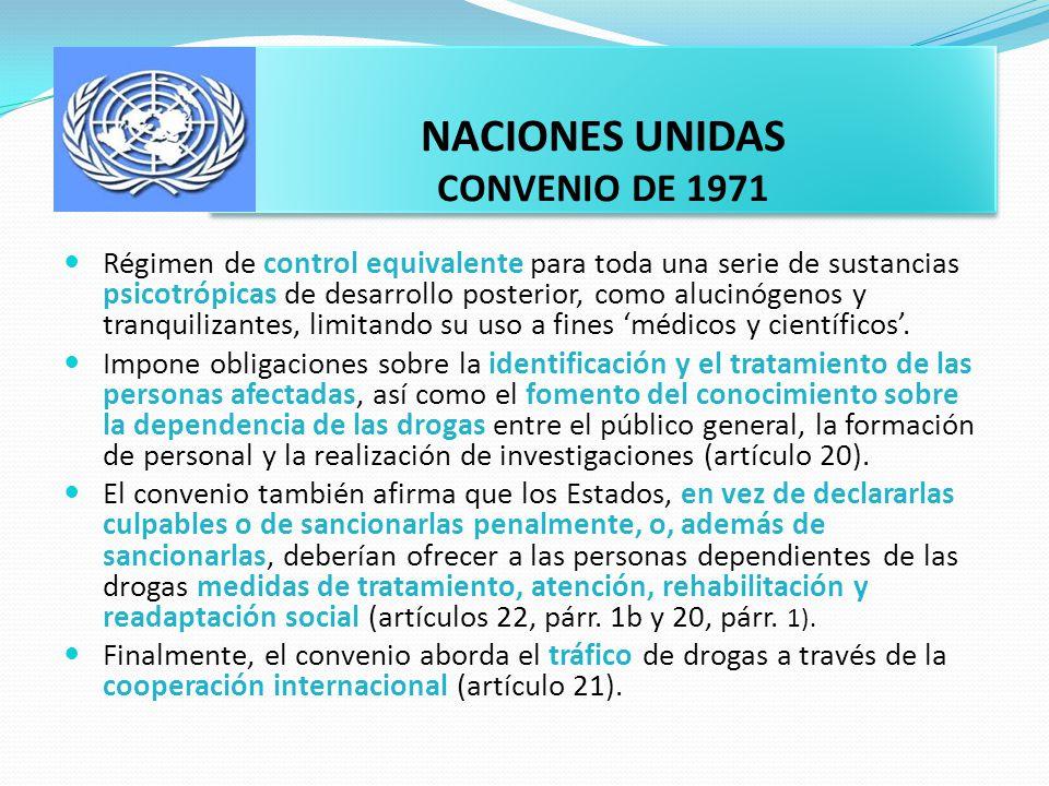 NACIONES UNIDAS CONVENIO DE 1971 Régimen de control equivalente para toda una serie de sustancias psicotrópicas de desarrollo posterior, como alucinóg
