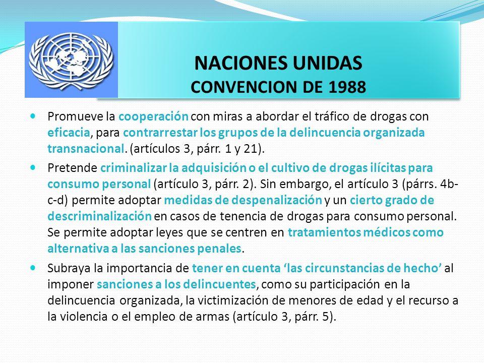 CONSORCIO INTERNACIONAL SOBRE POLÍTICAS DE DROGAS La mayoría de gobiernos nacionales ha seguido fielmente el modelo de política de drogas promovido desde 1961 por las convenciones sobre estupefacientes de la Organización de las Naciones Unidas (ONU), que ponen el acento en leyes y operaciones represivas con miras a contener y, en última instancia, erradicar la oferta de drogas ilegales.