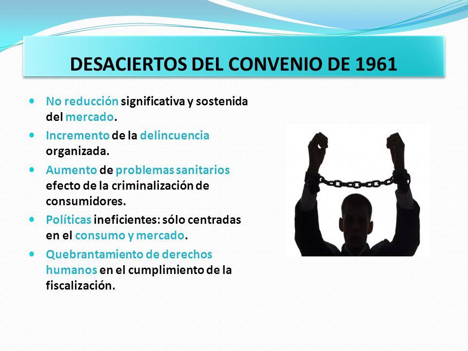 DESACIERTOS DEL CONVENIO DE 1961 No reducción significativa y sostenida del mercado. Incremento de la delincuencia organizada. Aumento de problemas sa