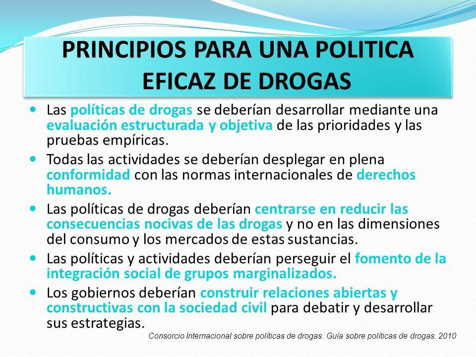 PRINCIPIOS PARA UNA POLITICA EFICAZ DE DROGAS Las políticas de drogas se deberían desarrollar mediante una evaluación estructurada y objetiva de las p