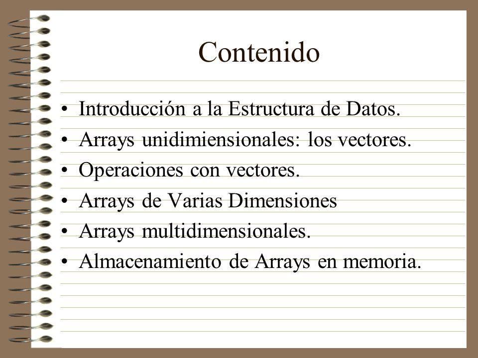 Contenido Introducción a la Estructura de Datos. Arrays unidimiensionales: los vectores. Operaciones con vectores. Arrays de Varias Dimensiones Arrays