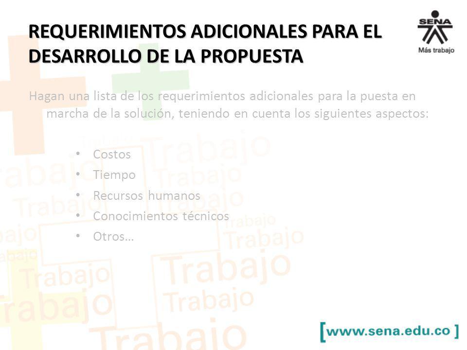 REQUERIMIENTOS ADICIONALES PARA EL DESARROLLO DE LA PROPUESTA Hagan una lista de los requerimientos adicionales para la puesta en marcha de la solució