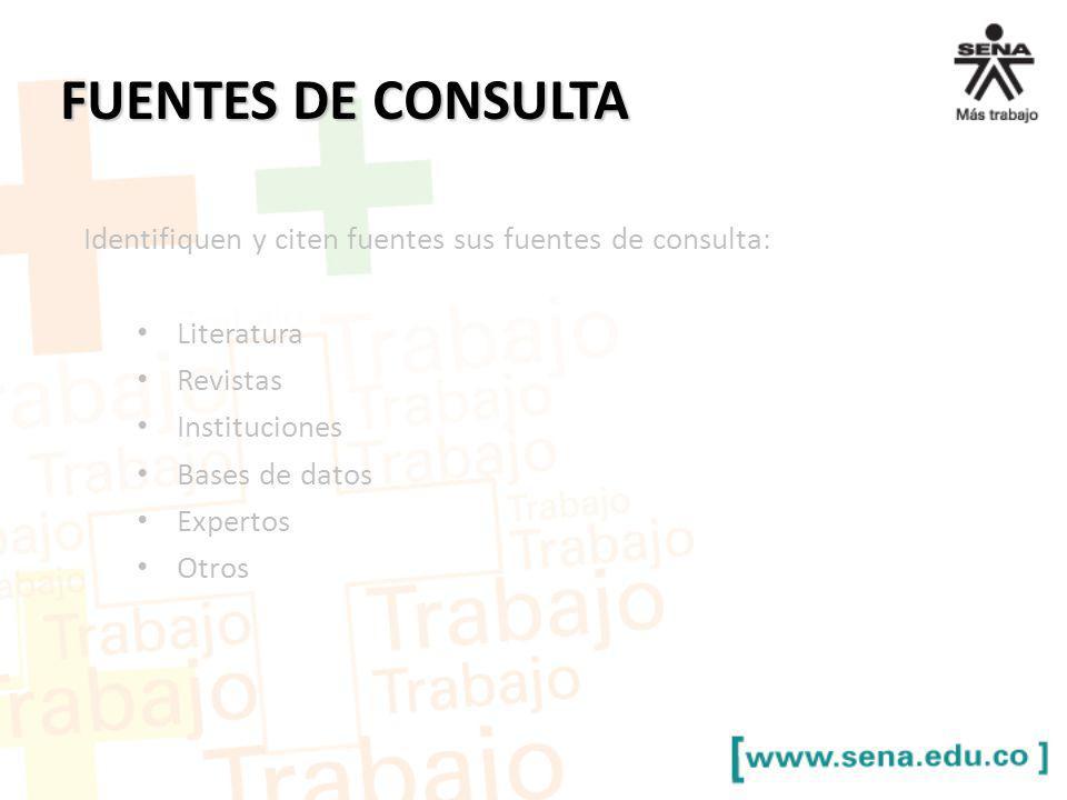 FUENTES DE CONSULTA Identifiquen y citen fuentes sus fuentes de consulta: Literatura Revistas Instituciones Bases de datos Expertos Otros