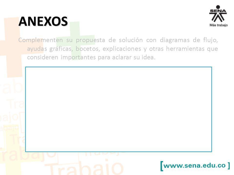 ANEXOS Complementen su propuesta de solución con diagramas de flujo, ayudas gráficas, bocetos, explicaciones y otras herramientas que consideren impor