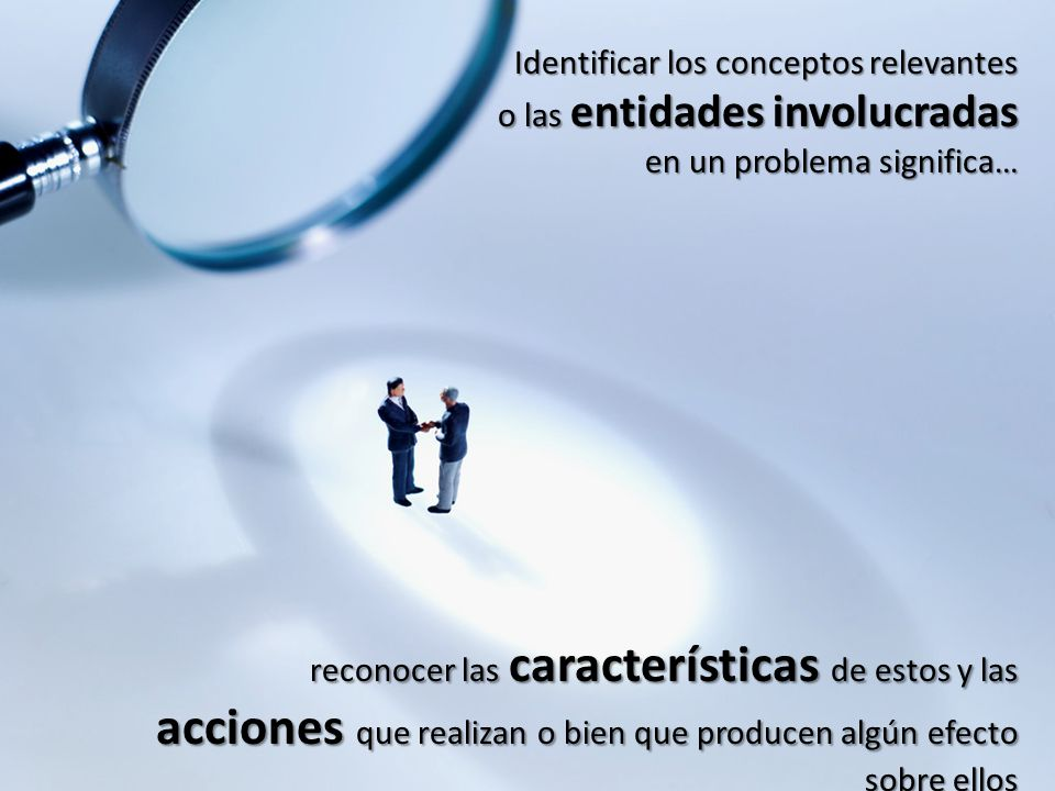 Identificar los conceptos relevantes o las entidades involucradas en un problema significa… reconocer las características de estos y las acciones que