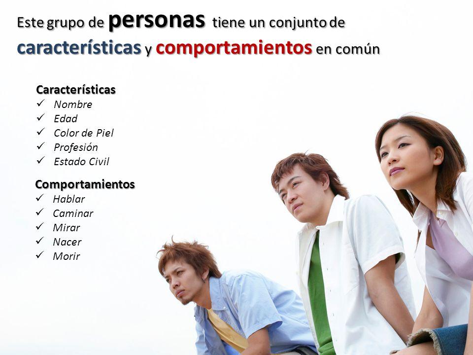 Este grupo de personas tiene un conjunto de características y comportamientos en común Características Nombre Edad Color de Piel Profesión Estado Civi