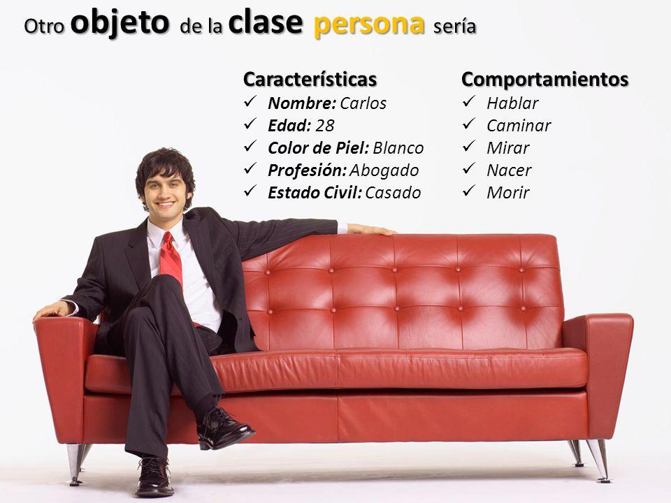 Otro objeto de la clase persona sería Características Nombre: Carlos Edad: 28 Color de Piel: Blanco Profesión: Abogado Estado Civil: CasadoComportamie