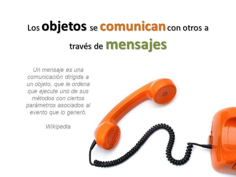 Los objetos se comunican con otros a través de mensajes Un mensaje es una comunicación dirigida a un objeto, que le ordena que ejecute uno de sus méto