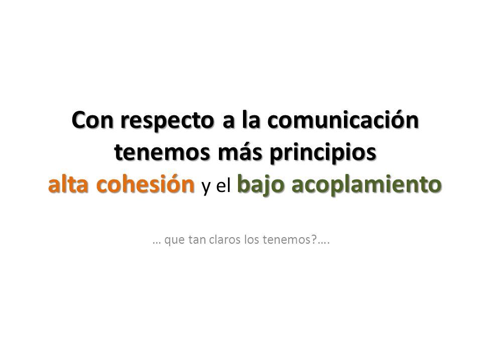 Con respecto a la comunicación tenemos más principios alta cohesión bajo acoplamiento Con respecto a la comunicación tenemos más principios alta cohes