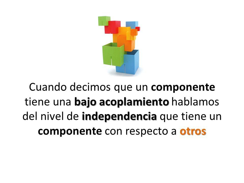 bajo acoplamiento independencia otros Cuando decimos que un componente tiene una bajo acoplamiento hablamos del nivel de independencia que tiene un co