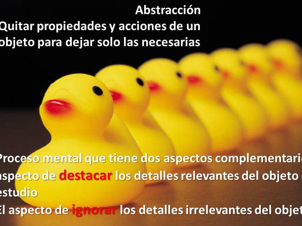 Abstracción Quitar propiedades y acciones de un objeto para dejar solo las necesarias Proceso mental que tiene dos aspectos complementarios El aspecto