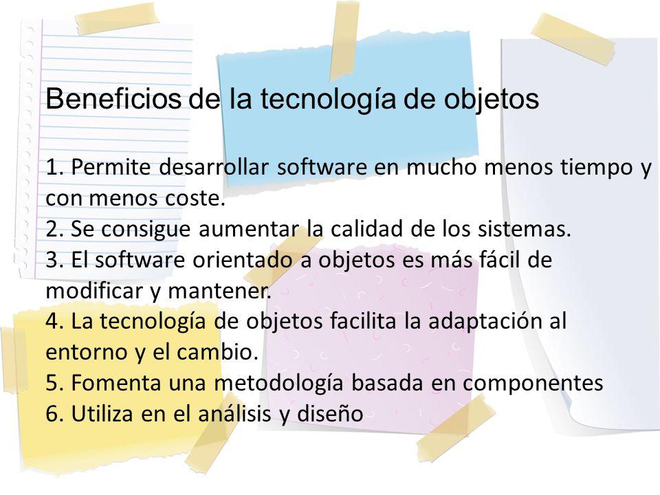 Beneficios de la tecnología de objetos 1. Permite desarrollar software en mucho menos tiempo y con menos coste. 2. Se consigue aumentar la calidad de