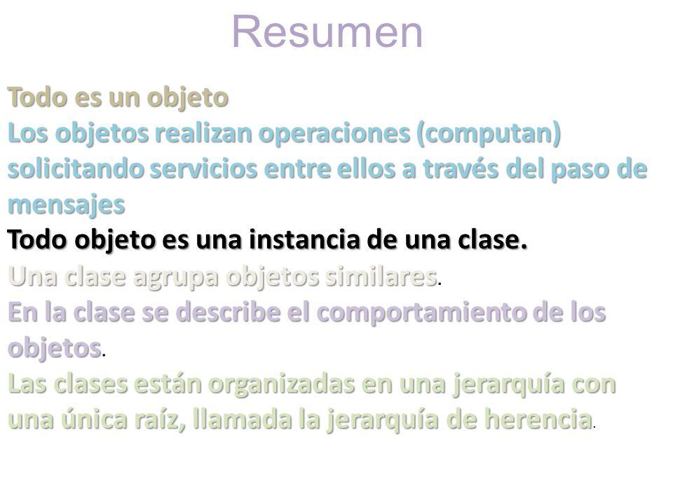Resumen Todo es un objeto Los objetos realizan operaciones (computan) solicitando servicios entre ellos a través del paso de mensajes Todo objeto es u