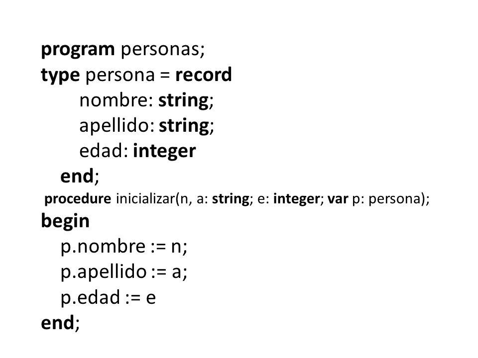 program personas; type persona = record nombre: string; apellido: string; edad: integer end; procedure inicializar(n, a: string; e: integer; var p: pe