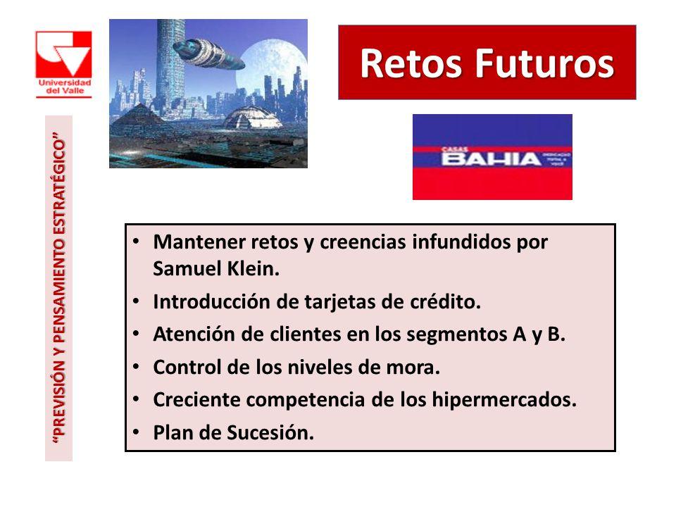 Retos Futuros Mantener retos y creencias infundidos por Samuel Klein. Introducción de tarjetas de crédito. Atención de clientes en los segmentos A y B