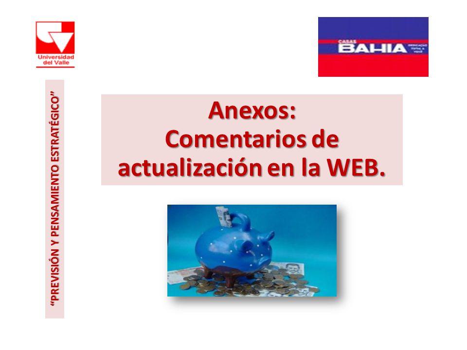 Anexos: Comentarios de actualización en la WEB. PREVISIÓN Y PENSAMIENTO ESTRATÉGICO