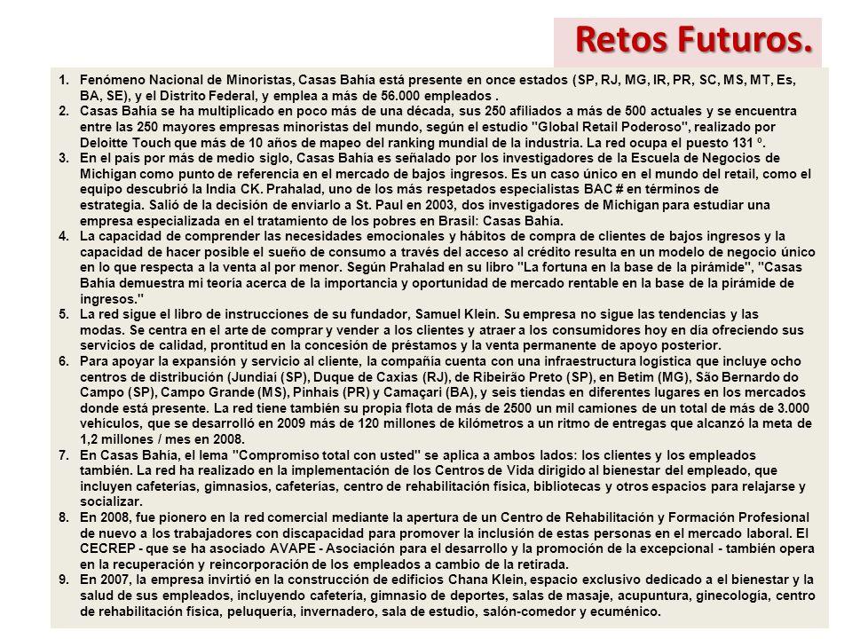 Retos Futuros. 1.Fenómeno Nacional de Minoristas, Casas Bahía está presente en once estados (SP, RJ, MG, IR, PR, SC, MS, MT, Es, BA, SE), y el Distrit