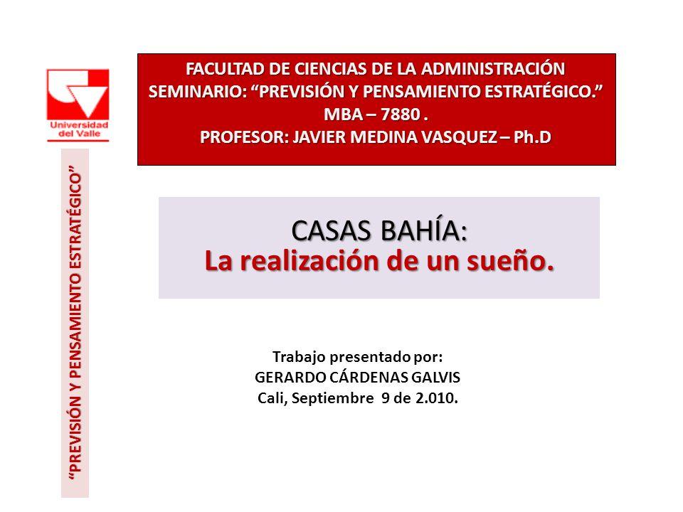 FACULTAD DE CIENCIAS DE LA ADMINISTRACIÓN SEMINARIO: PREVISIÓN Y PENSAMIENTO ESTRATÉGICO. MBA – 7880. PROFESOR: JAVIER MEDINA VASQUEZ – Ph.D CASAS BAH