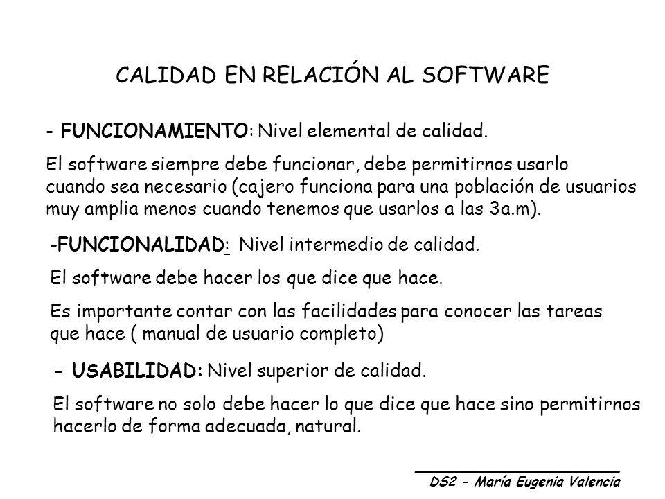 FÁBRICA DE SOFTWARE Gestión de infraestructuras (Adm de BD y de S.O) Equipos de documentación (Describe funcionalidades del producto) Equipos de pruebas del software Equipos de apoyo a la gestión (Económico y recursos humanos) EQUIPO DE DESARROLLO Núcleo * * * * * Equipos de apoyo _________________________ DS2 - María Eugenia Valencia