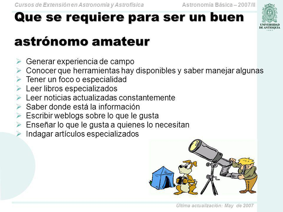 Astronomía Básica – 2007/IICursos de Extensión en Astronomía y Astrofísica Última actualización: May de 2007 VizieR En CDS: Centre de Données astronomiques de Strasbourg: http://vizier.u-strasbg.fr/ Acceso On-Line a colecciones de catálogos, incluyendo los más grandes existentes 6350 catálogos disponibles OnLine a nov del 2007 (6040 a mayo de 2007) UCAC2: The Second U.S.