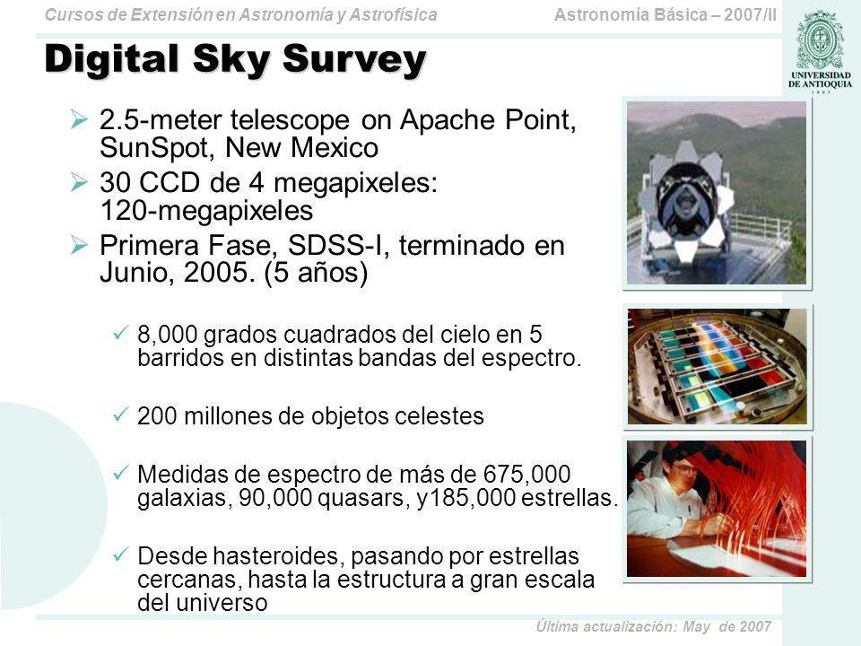 Astronomía Básica – 2007/IICursos de Extensión en Astronomía y Astrofísica Última actualización: May de 2007 Digital Sky Survey 2.5-meter telescope on Apache Point, SunSpot, New Mexico 30 CCD de 4 megapixeles: 120-megapixeles Primera Fase, SDSS-I, terminado en Junio, 2005.