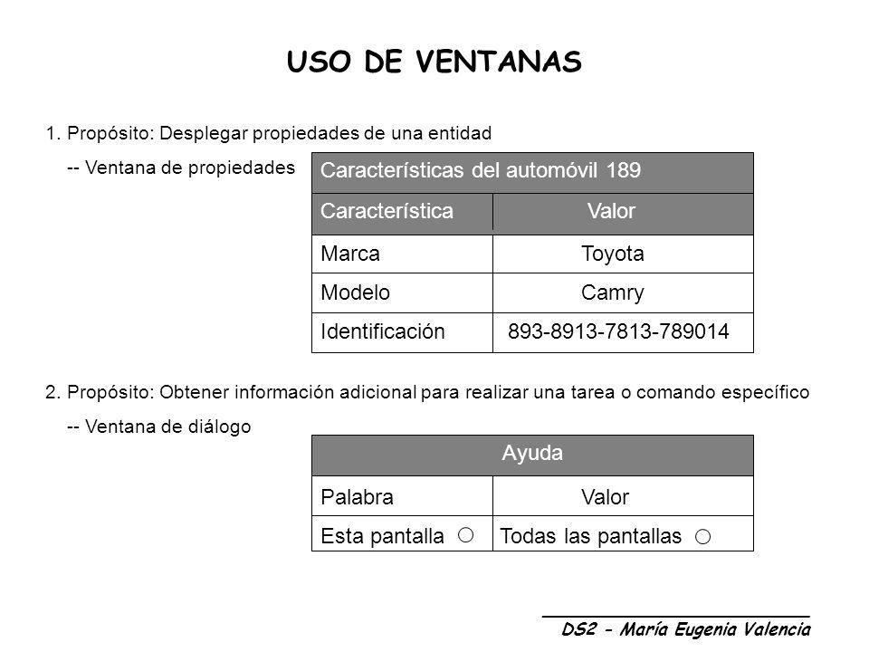 USO DE VENTANAS _________________________ DS2 - María Eugenia Valencia 1.