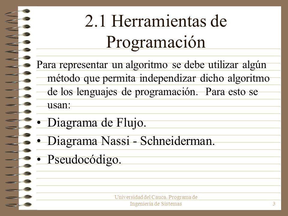 Universidad del Cauca. Programa de Ingeniería de Sistemas3 2.1 Herramientas de Programación Para representar un algoritmo se debe utilizar algún métod