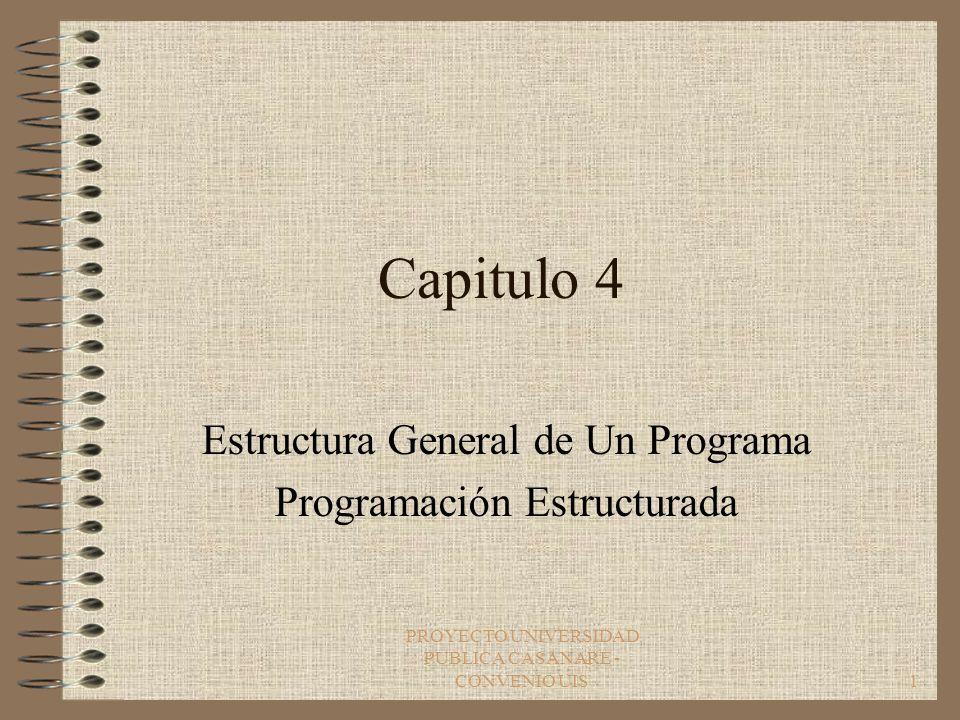 PROYECTO UNIVERSIDAD PUBLICA CASANARE - CONVENIO UIS1 Capitulo 4 Estructura General de Un Programa Programación Estructurada