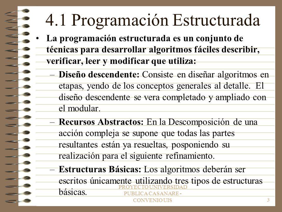 PROYECTO UNIVERSIDAD PUBLICA CASANARE - CONVENIO UIS3 4.1 Programación Estructurada La programación estructurada es un conjunto de técnicas para desarrollar algoritmos fáciles describir, verificar, leer y modificar que utiliza: –Diseño descendente: Consiste en diseñar algoritmos en etapas, yendo de los conceptos generales al detalle.
