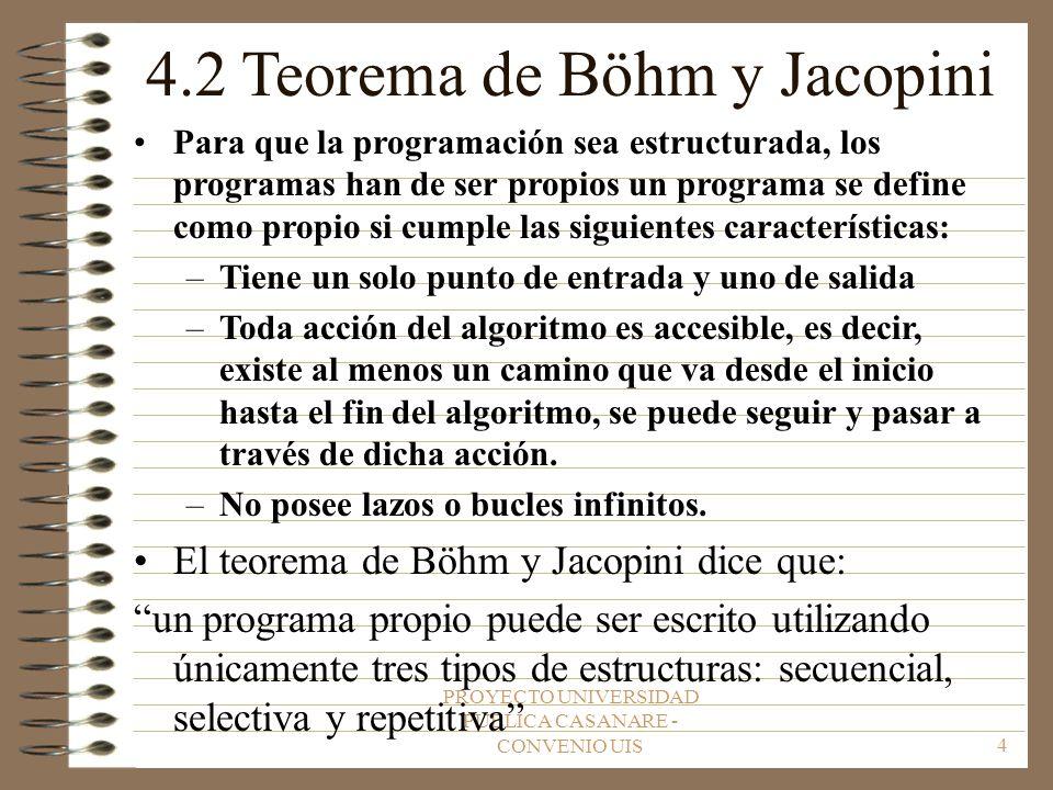 PROYECTO UNIVERSIDAD PUBLICA CASANARE - CONVENIO UIS4 4.2 Teorema de Böhm y Jacopini Para que la programación sea estructurada, los programas han de ser propios un programa se define como propio si cumple las siguientes características: –Tiene un solo punto de entrada y uno de salida –Toda acción del algoritmo es accesible, es decir, existe al menos un camino que va desde el inicio hasta el fin del algoritmo, se puede seguir y pasar a través de dicha acción.