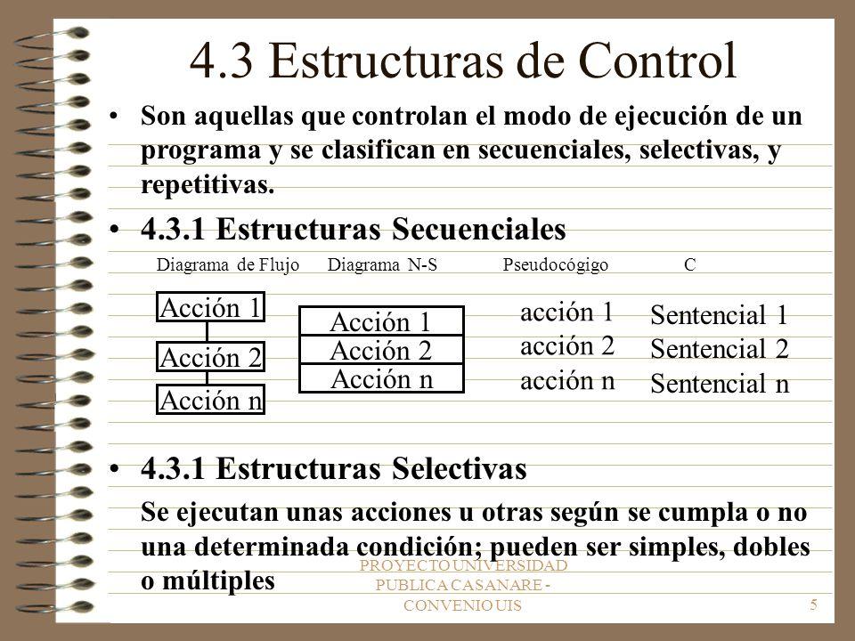 PROYECTO UNIVERSIDAD PUBLICA CASANARE - CONVENIO UIS5 4.3 Estructuras de Control Son aquellas que controlan el modo de ejecución de un programa y se clasifican en secuenciales, selectivas, y repetitivas.