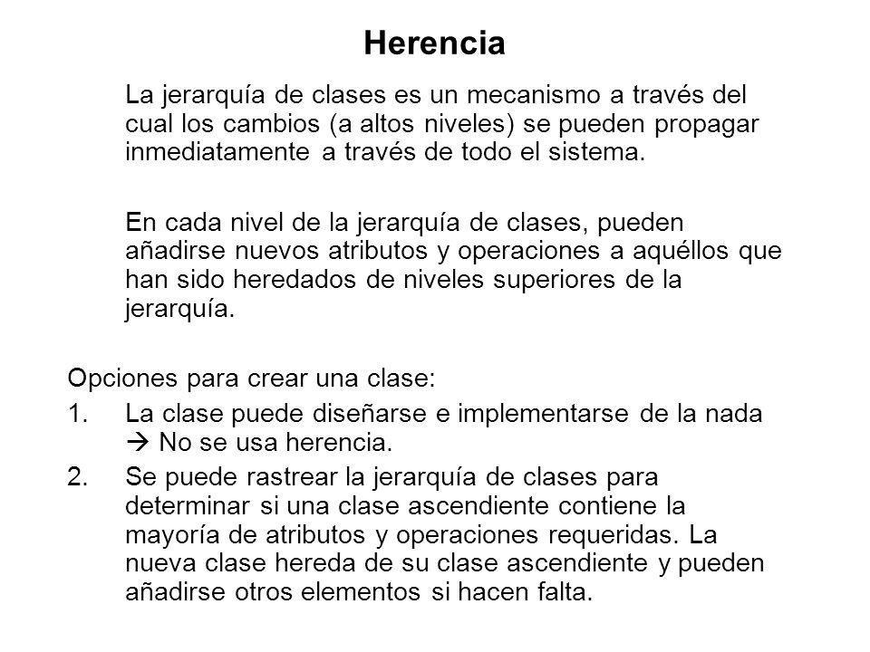 Herencia La jerarquía de clases es un mecanismo a través del cual los cambios (a altos niveles) se pueden propagar inmediatamente a través de todo el sistema.