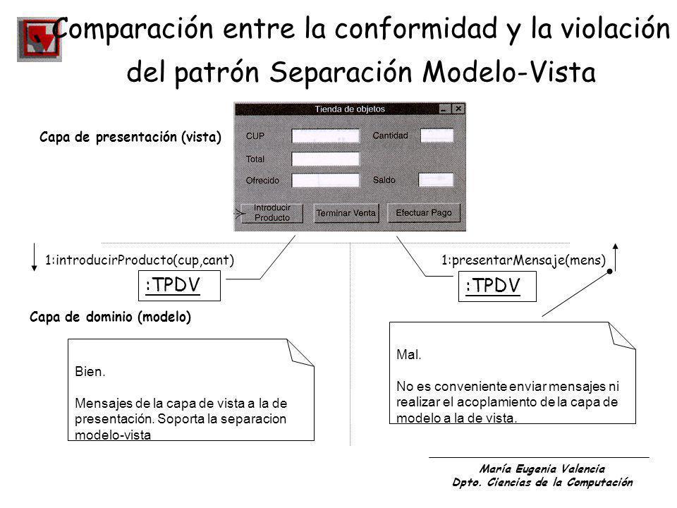 María Eugenia Valencia Dpto. Ciencias de la Computación Comparación entre la conformidad y la violación del patrón Separación Modelo-Vista Capa de pre