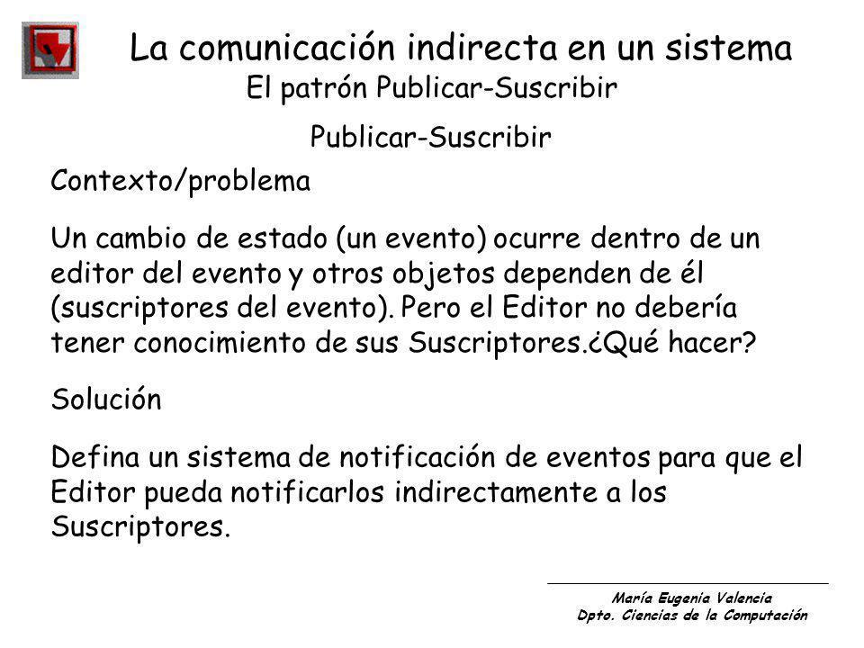 María Eugenia Valencia Dpto. Ciencias de la Computación La comunicación indirecta en un sistema El patrón Publicar-Suscribir Publicar-Suscribir Contex