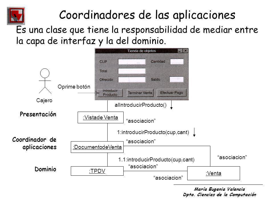 María Eugenia Valencia Dpto. Ciencias de la Computación Coordinadores de las aplicaciones Es una clase que tiene la responsabilidad de mediar entre la