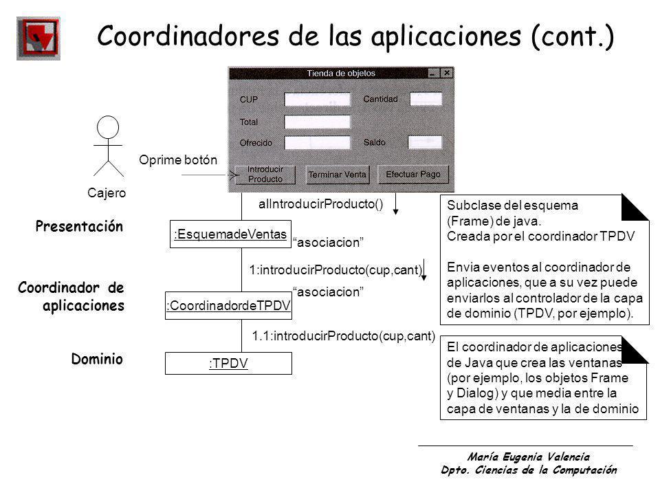 María Eugenia Valencia Dpto. Ciencias de la Computación Coordinadores de las aplicaciones (cont.) Oprime botón Cajero :EsquemadeVentas :CoordinadordeT