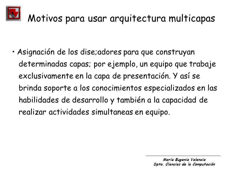 María Eugenia Valencia Dpto. Ciencias de la Computación Asignación de los dise;adores para que construyan determinadas capas; por ejemplo, un equipo q