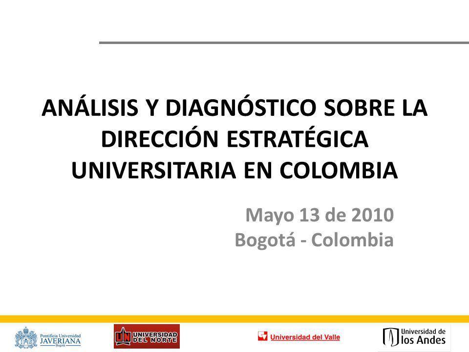 ANÁLISIS Y DIAGNÓSTICO SOBRE LA DIRECCIÓN ESTRATÉGICA UNIVERSITARIA EN COLOMBIA Mayo 13 de 2010 Bogotá - Colombia