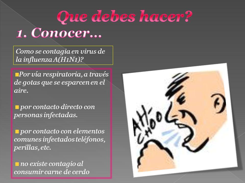 Como se contagia en virus de la influenza A(H1N1)? Por vía respiratoria, a través de gotas que se esparcen en el aire. por contacto directo con person