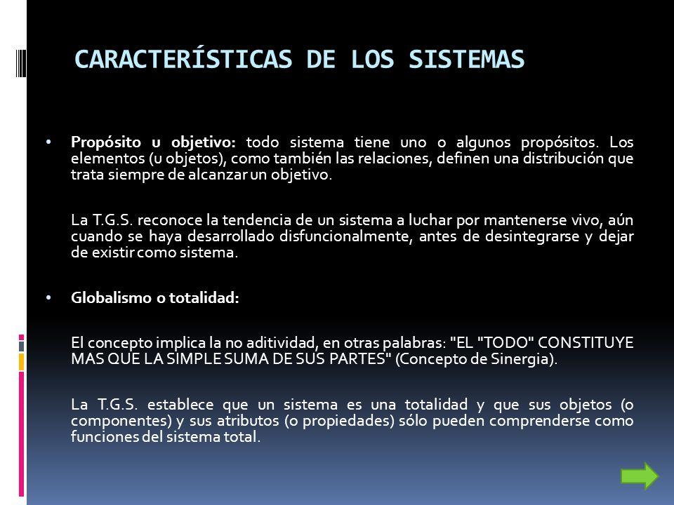 CARACTERÍSTICAS DE LOS SISTEMAS Propósito u objetivo: todo sistema tiene uno o algunos propósitos. Los elementos (u objetos), como también las relacio