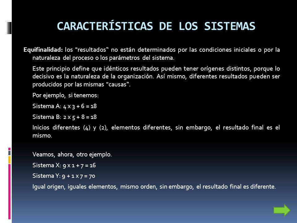 CARACTERÍSTICAS DE LOS SISTEMAS Equifinalidad: los