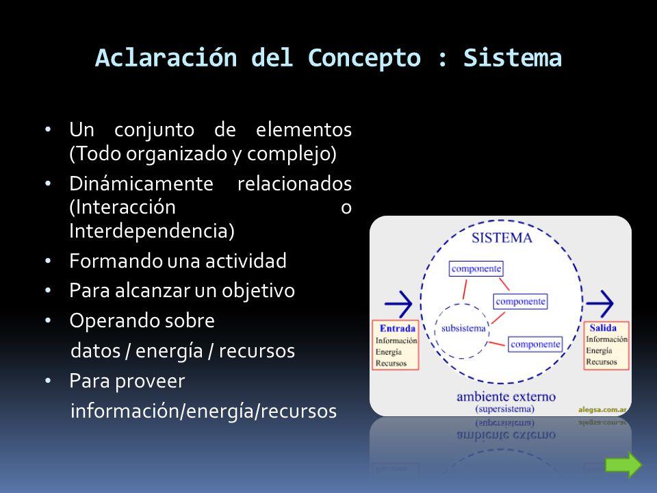 Aclaración del Concepto : Sistema Un conjunto de elementos (Todo organizado y complejo) Dinámicamente relacionados (Interacción o Interdependencia) Fo