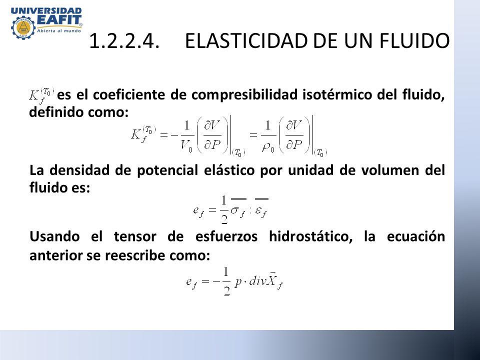 es el coeficiente de compresibilidad isotérmico del fluido, definido como: La densidad de potencial elástico por unidad de volumen del fluido es: Usan