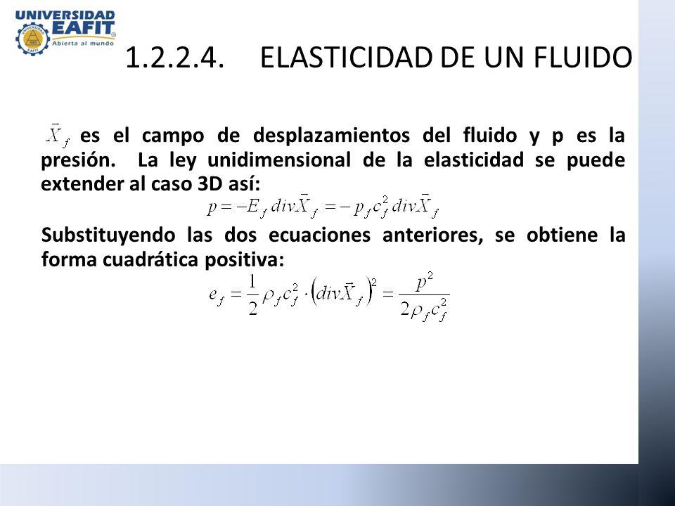 es el campo de desplazamientos del fluido y p es la presión. La ley unidimensional de la elasticidad se puede extender al caso 3D así: Substituyendo l