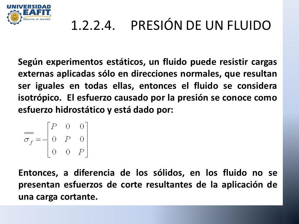 Según experimentos estáticos, un fluido puede resistir cargas externas aplicadas sólo en direcciones normales, que resultan ser iguales en todas ellas