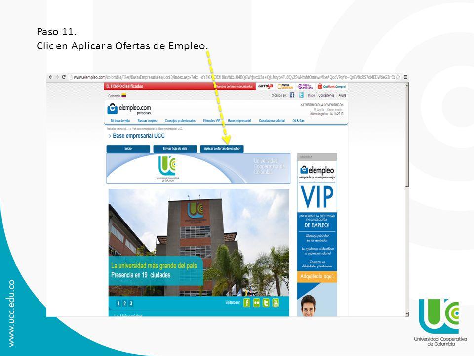 Paso 11. Clic en Aplicar a Ofertas de Empleo.