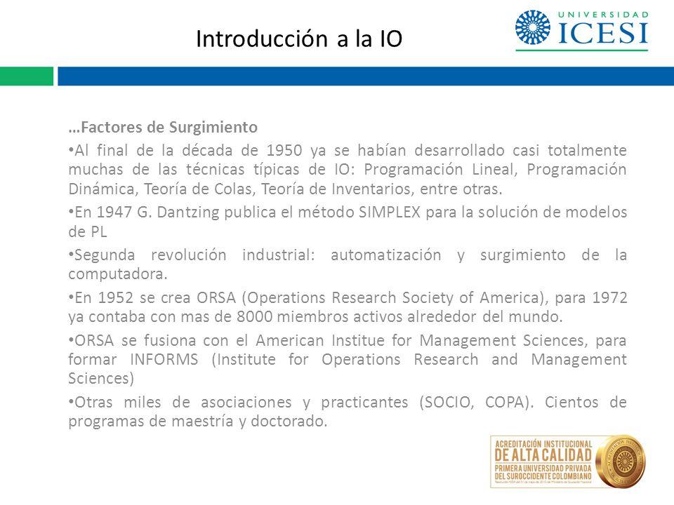 Introducción a la IO …Factores de Surgimiento Al final de la década de 1950 ya se habían desarrollado casi totalmente muchas de las técnicas típicas de IO: Programación Lineal, Programación Dinámica, Teoría de Colas, Teoría de Inventarios, entre otras.