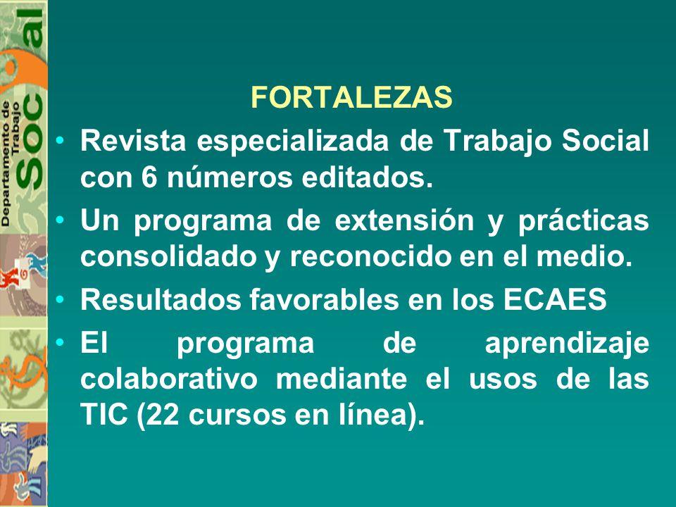 FORTALEZAS Revista especializada de Trabajo Social con 6 números editados. Un programa de extensión y prácticas consolidado y reconocido en el medio.