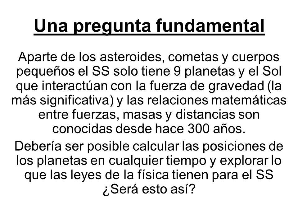 Una pregunta fundamental Aparte de los asteroides, cometas y cuerpos pequeños el SS solo tiene 9 planetas y el Sol que interactúan con la fuerza de gr